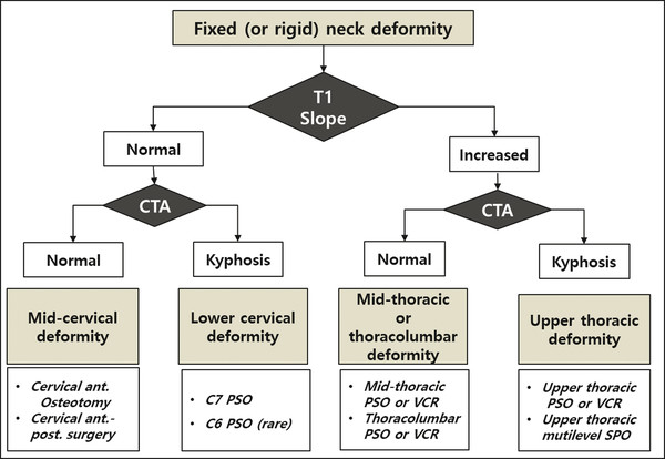 A flowchart for surgical strategy to treat rigid neck deformity using T1 slope and cervicothoracic angle (CTA), which is measured from the C6 upper endplate to the T4 lower endplate. Ant., anterior; p